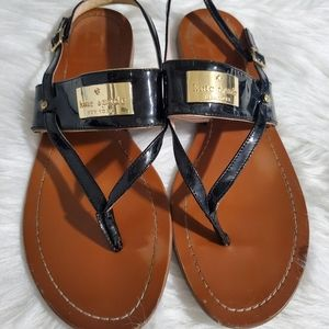 Kate Spade Cassandra Flat Black and Tan Sandals